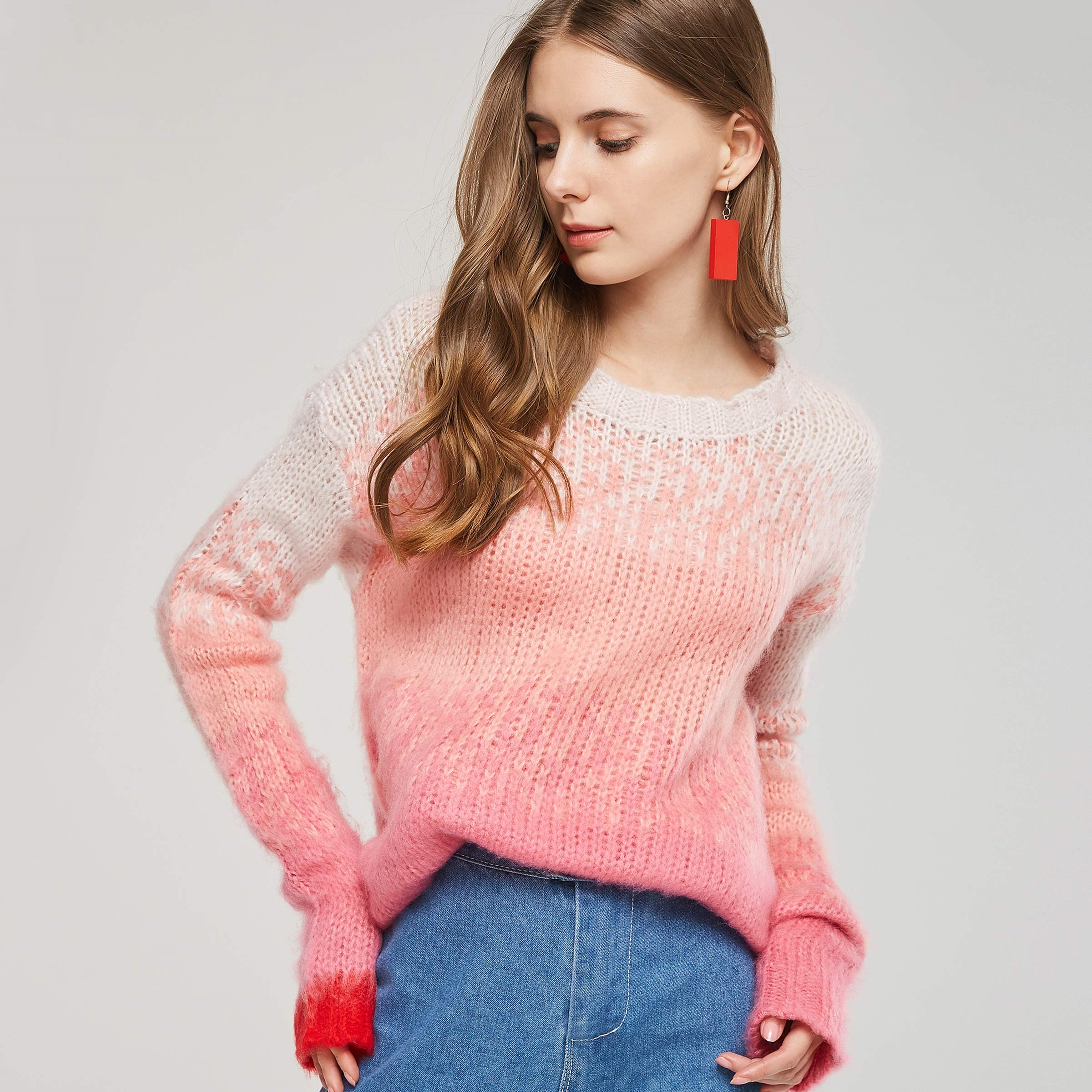 2018 Fall Sweet Preppy Style Office Lady Casual Pink Women Sweaters Loose Pullover Gradient Girls Lovely Female Simple Tops