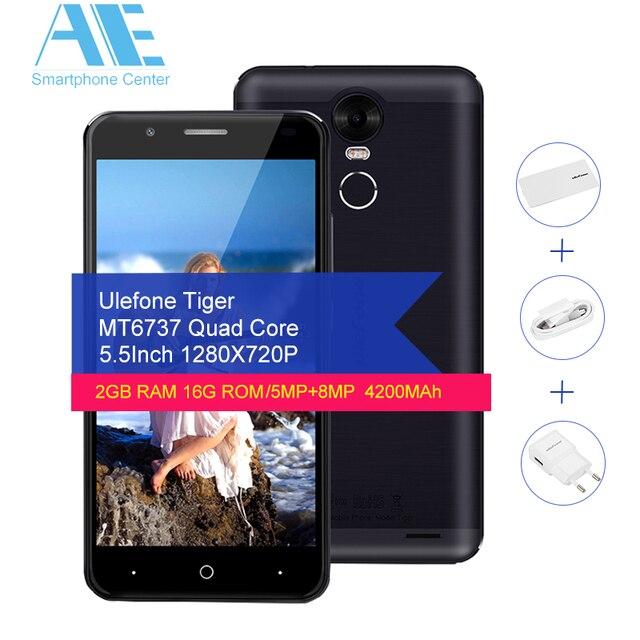 Original Ulefone Tiger Smartphone MT6737 Quad core Android 6.0 Cellphone 5.5Inch 2G RAM 16G ROM Fingerprint 4G LTE Mobile Phone