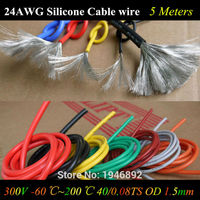 5 M 24 AWG Flexible Silicone Dây RC Cáp DÂY 24AWG 40/0. 08TS Đường Kính Ngoài 1.5 mét Với 10 Màu Sắc để Chọn