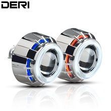 3 inch Round HID Bi Xenon Projector Lens with CCFL White Red Blue Double Angel Eye Refit Car Headlight H1 H4 H7 6000K High /Low