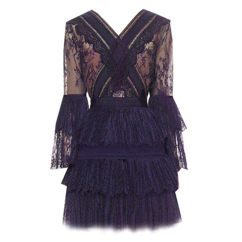 Plissée Femmes Kenvy Douce Nouveau Robe Mode Dentelle cou De parleur Manches Marque Haut V Luxe Haut Gamme Y8YBrq