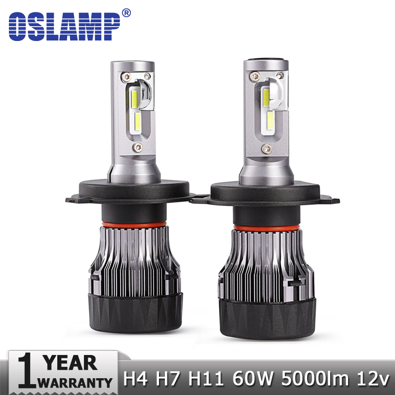 Oslamp Mini H4 H7 H11 60W LED Car Headlight Bulbs Hi lo Beam 12v 24v CSP Chips 5000lm 6500K Auto Led Headlamp Fog Light Bulb super bright h11 led car headlight bulbs h8 h9 auto lamp 50w 6500k csp chips automobile headlamp light