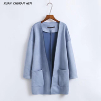 XUANCHURANWEN 2017 Women Suede Outerwear Fashion Autumn Slim Vintage Chamois Jacket Long Trench Coat Open Stitch