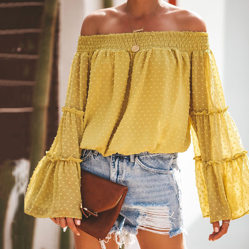 EVERAFTER Vintage Off Shoulder Solid Womens tops and blouse Long Sleeve Ruffles Chiffon Blouses Street Casual Tee 2019 Autumn in Blouses amp Shirts from Women 39 s Clothing