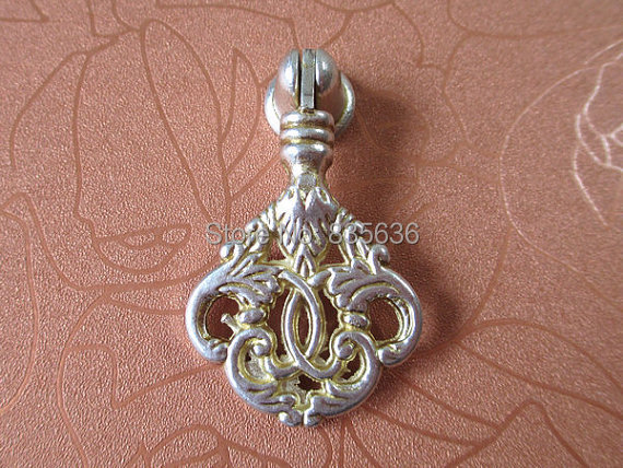 Shabby Chic Dresser Drawer Handle Antique Silver Vintage Style Cabinet Pull Hardware French Country Furniture