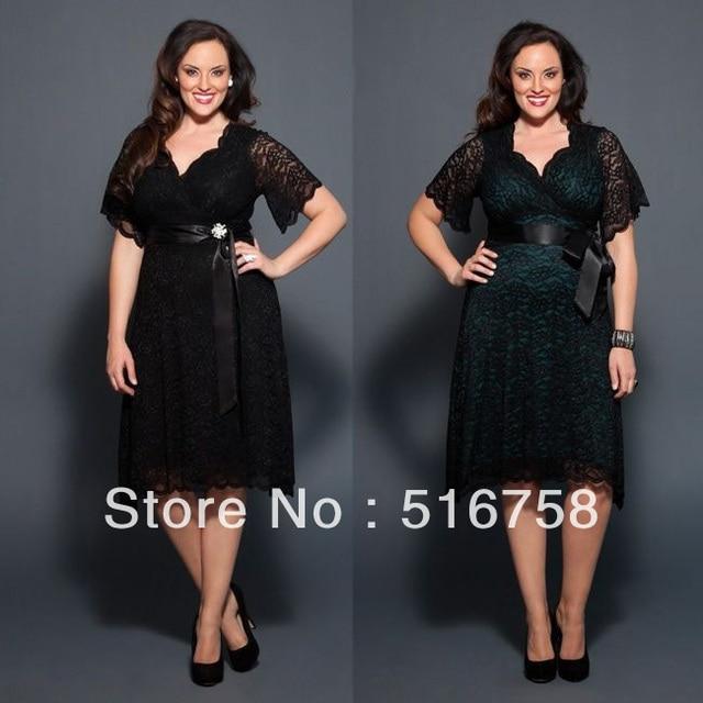 2014 Cheap Short Sleeve Ribbon Belt Lace V Neck Black Plus Size
