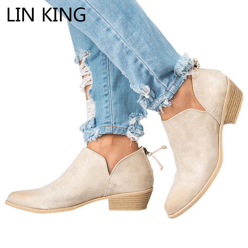 LIN KING Big Size Women Boots Fashion Solid Round Toe Ankle Boots Square Heel Shallow Short Shoes Spring Autumn Botas Feminina lin king new women pumps round toe solid thick square medium heel buckle lolita shoes ankle strap party platform shoes big size page 7