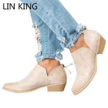 Купить с кэшбэком LIN KING Big Size Women Boots Fashion Solid Round Toe Ankle Boots Square Heel Shallow Short Shoes Spring Autumn Botas Feminina