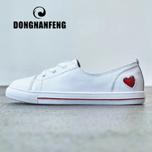 DONGNANFENG Women Female Ladies Student Shoes Flats White Platform Korean Love Casual PU Leather Lace Up Vulcanized YZ-688