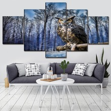 Canvas Pictures Living Room Wall Art Prints 5 Piece/Pcs Owl Bird On Winter Tree Painting Home Decor Animal Poster Framework