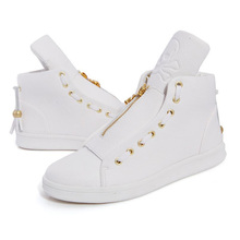 High-Top Genuine Leather Men Casual Shoes White Lace Skull Young Student Style Shoes Black And White Zipper Men Shoes M138