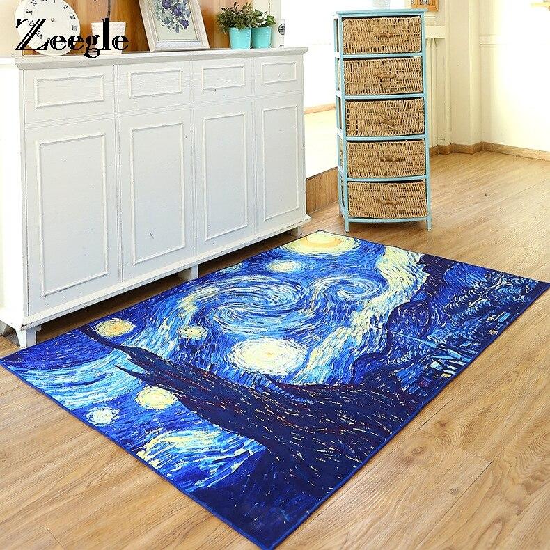 Wooden Bedroom Bench Van Gogh Bedroom Art Bedroom Ceiling Light Fixtures Kids Bedroom Curtains Design: Floor Mat Van Gogh Artist Starry Night Carpets For Living