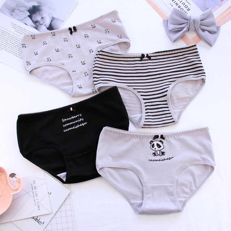 4af47b7f72 ... Women s underwear cotton waist lady triangle bottom pants cotton girl  underwear Harajuku panda cartoon striped letters ...