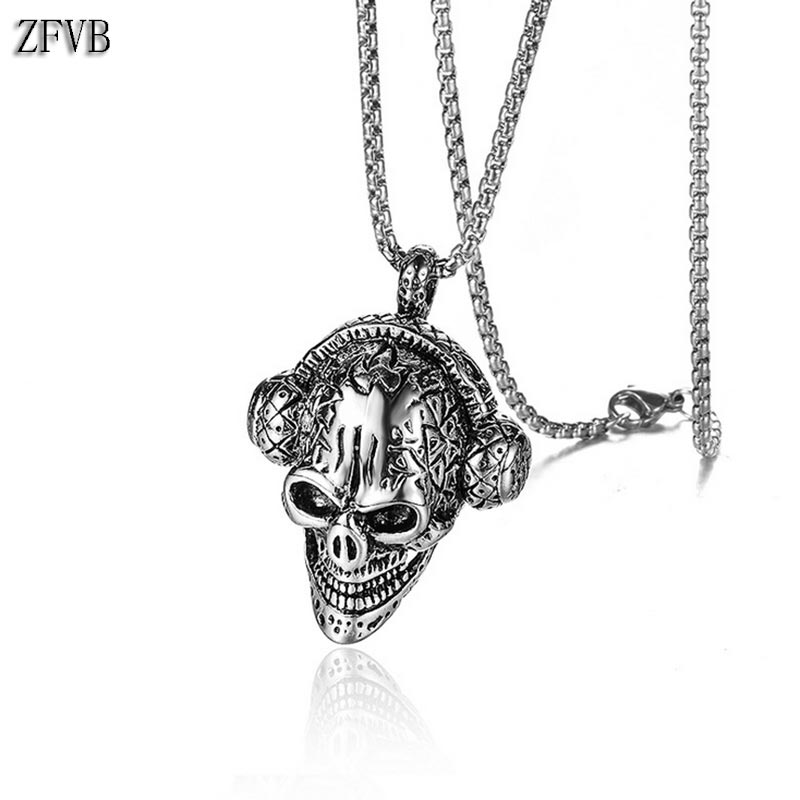 ZFVB Hiphop Rock Skull Music Headset Pendant Necklaces Men Stainless Steel High Quality Punk Necklace Jewelry Gift