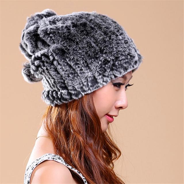 Mulheres Inverno Chapéu De Pele Real Rex Pele De Coelho Gorros Sólida Estilo Casual Para As Mulheres de Malha Caps Gorros Chapéus de Inverno Femininos