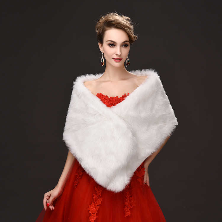 bccb08a64c9 Detail Feedback Questions about New Ivory/White Faux Fur Bridal Wrap ...