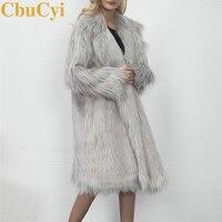 CBUCYI Fashion Winter Faux Fur Coat Women Plus Long Jackets Coats Full Sleeve Lapel Coats Women Outerwear Faux Fur Overcoats