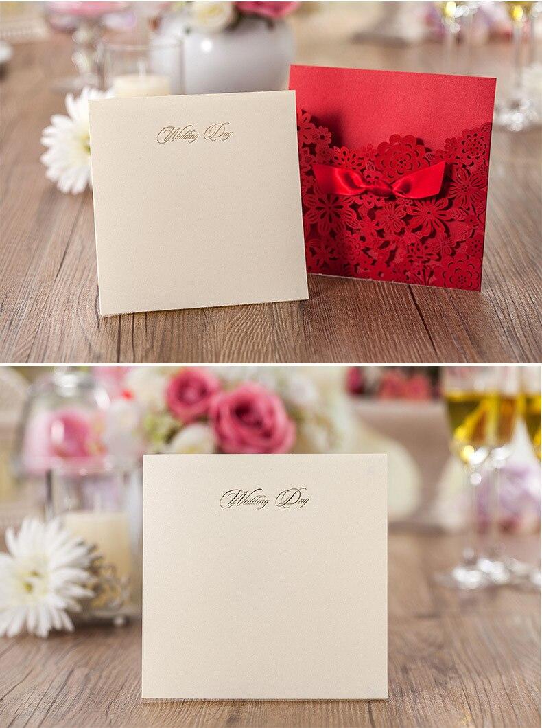wholesale 50pcs /lot Elegant Red Laser Cut Wedding Invitation Card ...