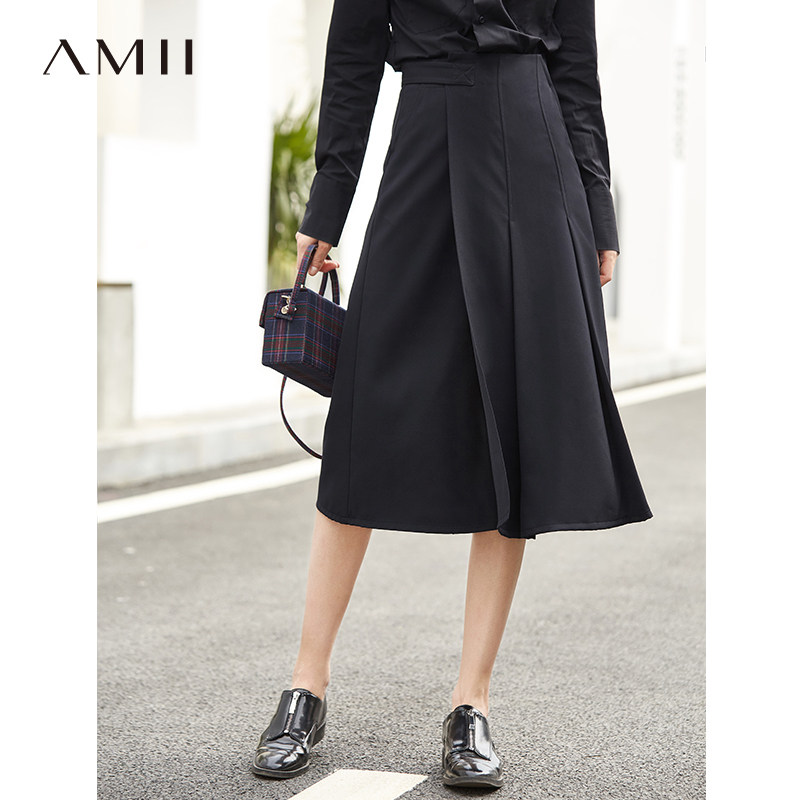 Amii Minimalist Women A Line Skirts 2019 Spring New Causal Solid Pleased Adjustable Belt Empire Female
