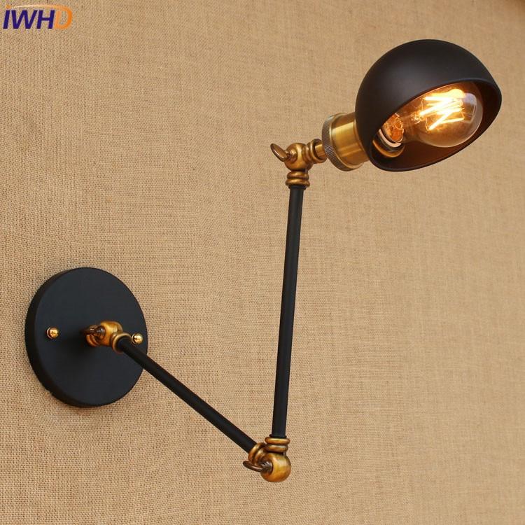 Loft retro Black iron shade adjustable swing arm reading wall lamps Lights e27 e26 sconce for workroom bedroom bar cafe Hallway