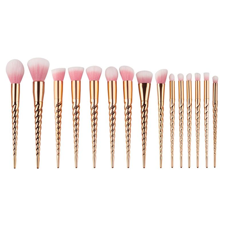 15pcs Gold Makeup Brushes Set Professional Synthetic Hair Powder Metal Handle Foundation Eyeshadow  Makeup Cosmetics Brushes Kit