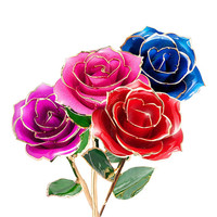1PC Artificial Flower Roses 24K Gold Dipped Real Rose Plated Flower Golden Birthday gift Wedding Decor #3m15