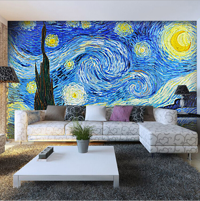 Perfect Reproduction Vango Starry Night Picture Big Size Wall Paper Mural 3d Tv  Background Awesome Design