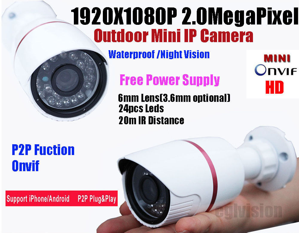 Free shipping 2mp IP camera HD 1080P IP Network Security CCTV Waterproof IR Camera IP66 support POE and Onvif