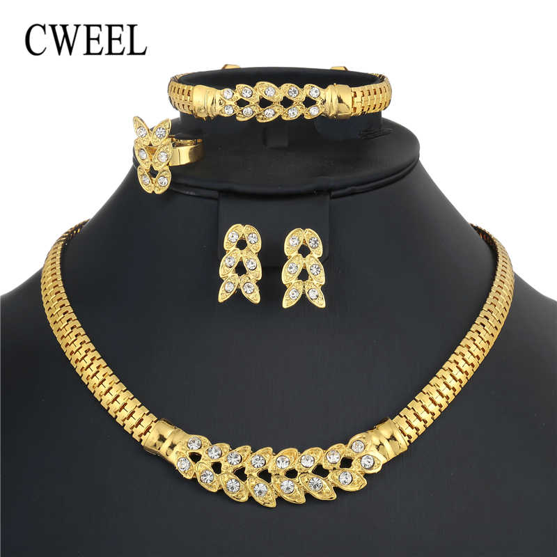 CWEEL Jewelry Sets For Women Nigerian Wedding African Beads Jewelry Set Imitation Crystal Statement Necklace Costume Jewellery