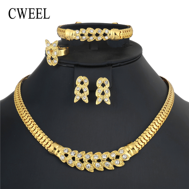 CWEEL Schmuck Sets Für Frauen Nigerian Hochzeit Afrikanische Perlen Schmuck Set Imitation Kristall Aussage Halskette Kostüm Schmuck