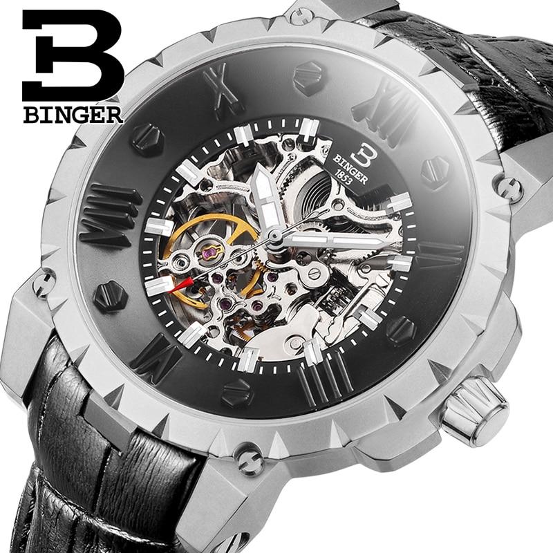 Saatler'ten Mekanik Saatler'de Isviçre BINGE Saatler Erkekler Lüks Marka İskelet Otomatik Mekanik Hakiki Deri Saatı Su Geçirmez Saat B 5032 16'da  Grup 1