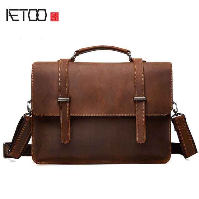 00dab67c41bd AETOO New leather business men bag crazy horse skin retro style cross  section portable briefcase men