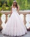 Dreagel Vestido de Noiva Glamorous Apliques de Encaje Cepillo Tren Vestido de Boda de La Princesa 2017 Sin Tirantes Romántico vestido de Novia de La Venta Caliente