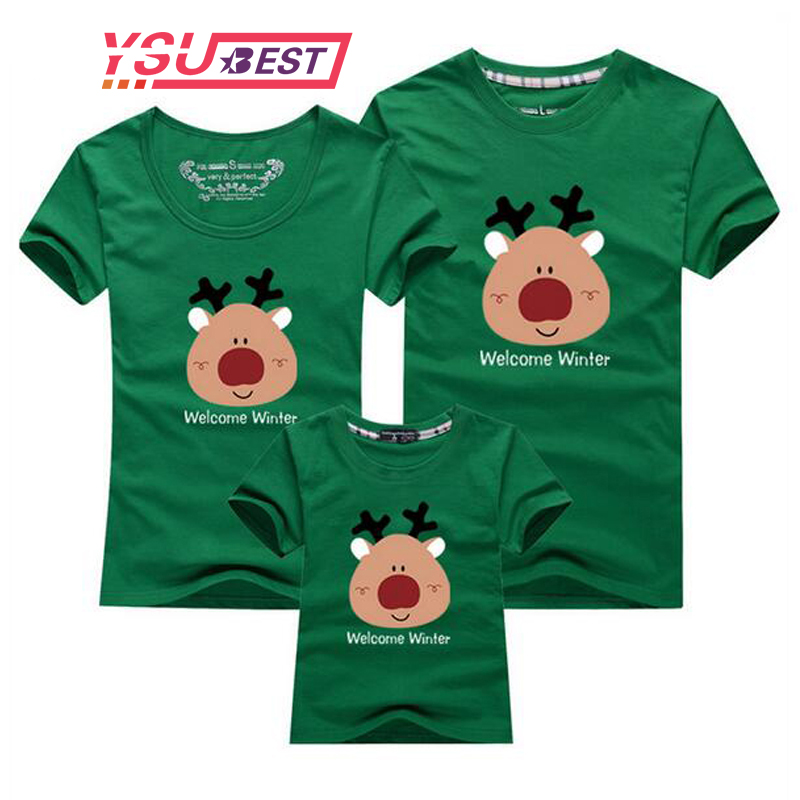 New Matching Family Clothing Sets 2018 Christmas Family Look Deer Print Clothes Mother Daughter Father Son Children T-Shirt Gift цена