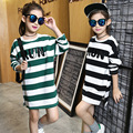 2017 New Baby Girl Cotton Long T-shirt Stripe Pattern Kid Pullvoer Clothes Spring Autumn Children O-neck Pullover Top Tees