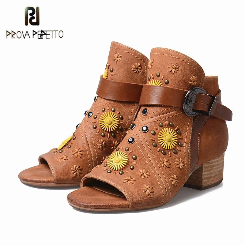 Prova Perfetto Summer Peep Toe Women Sandal Pump Shoe Spell Color Real Leather Mid Heel Sandal Rome Genuine Leather Rivet Shoes цены