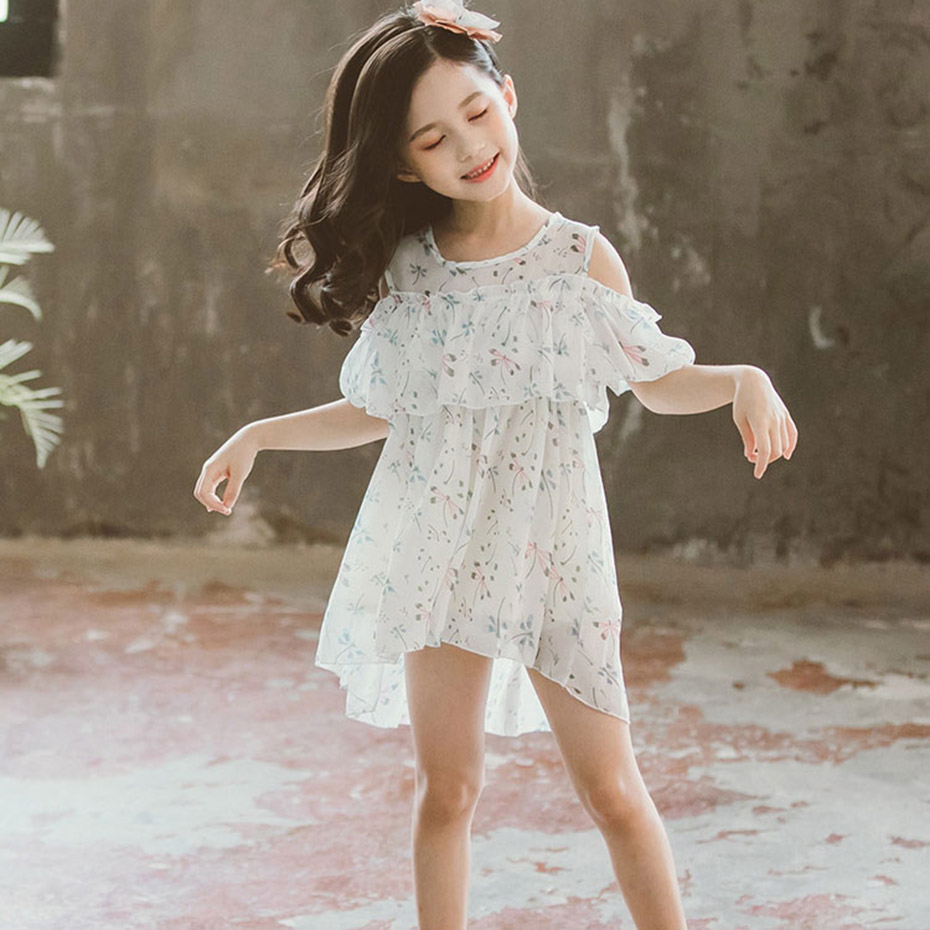 Summer Dresses For Girls Off Shoulder Girls Beach Dress Kids Floral Pattern Dress Girl Party Teen Clothing For Young Girls(China)