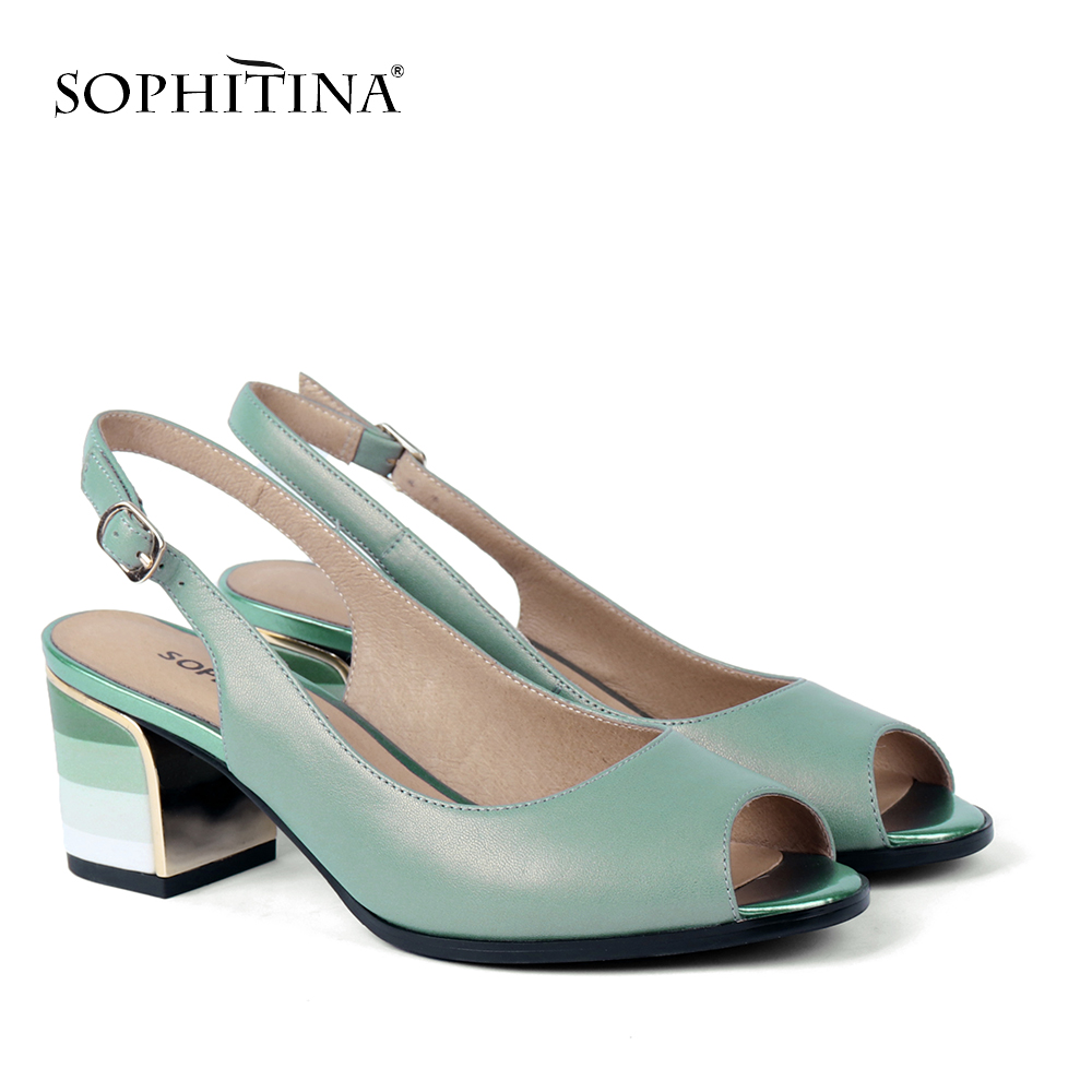 SOPHITINA Fashion Genuine Leather High Heel Ladies Sandals Casual Lace Up Square Heel Shoes Spring Autumn