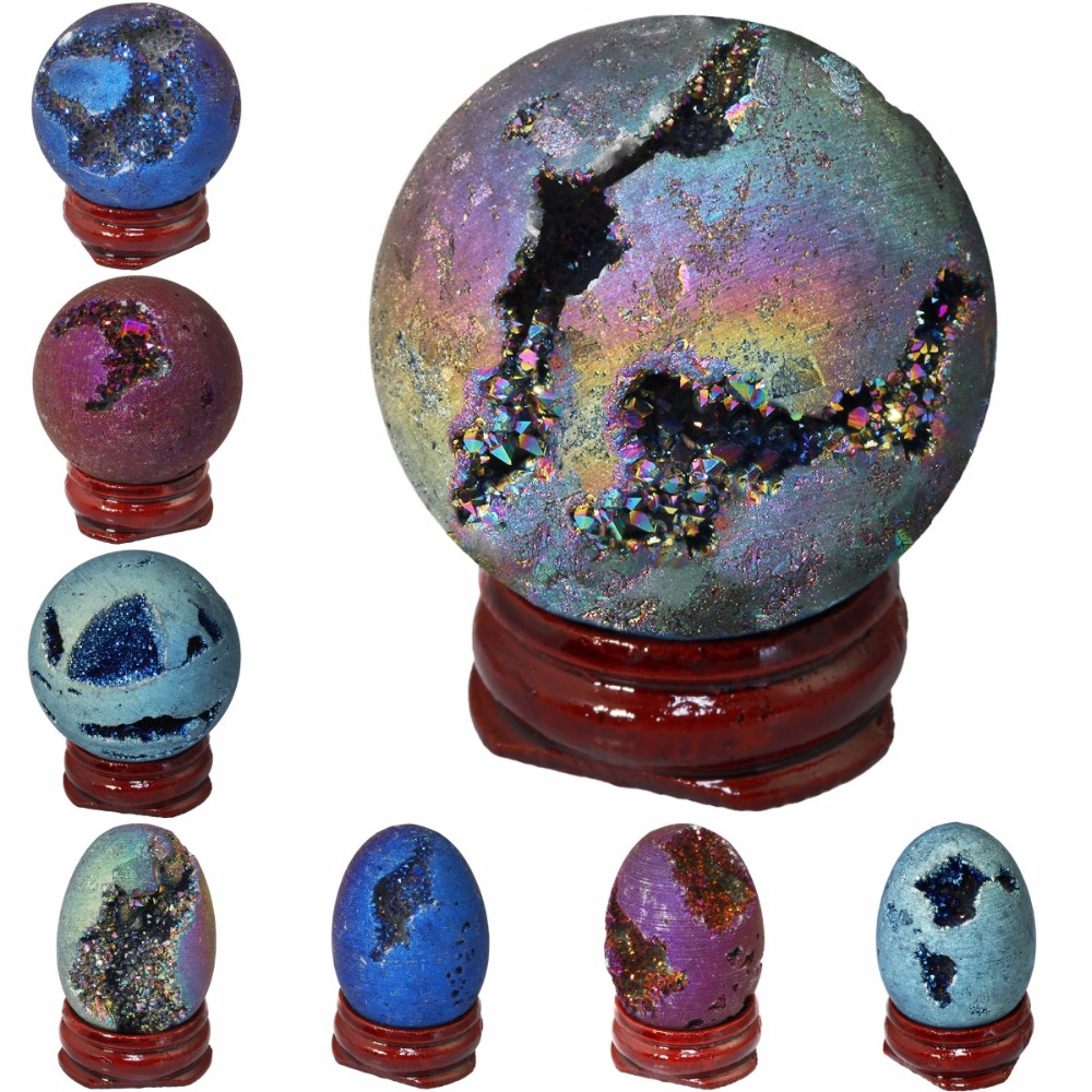SUNYIK Titanium Coated Druzy Geode Sphere,Crystal Quartz Agate Gem Stone Egg/Ball,Sculpture Figurine Healing
