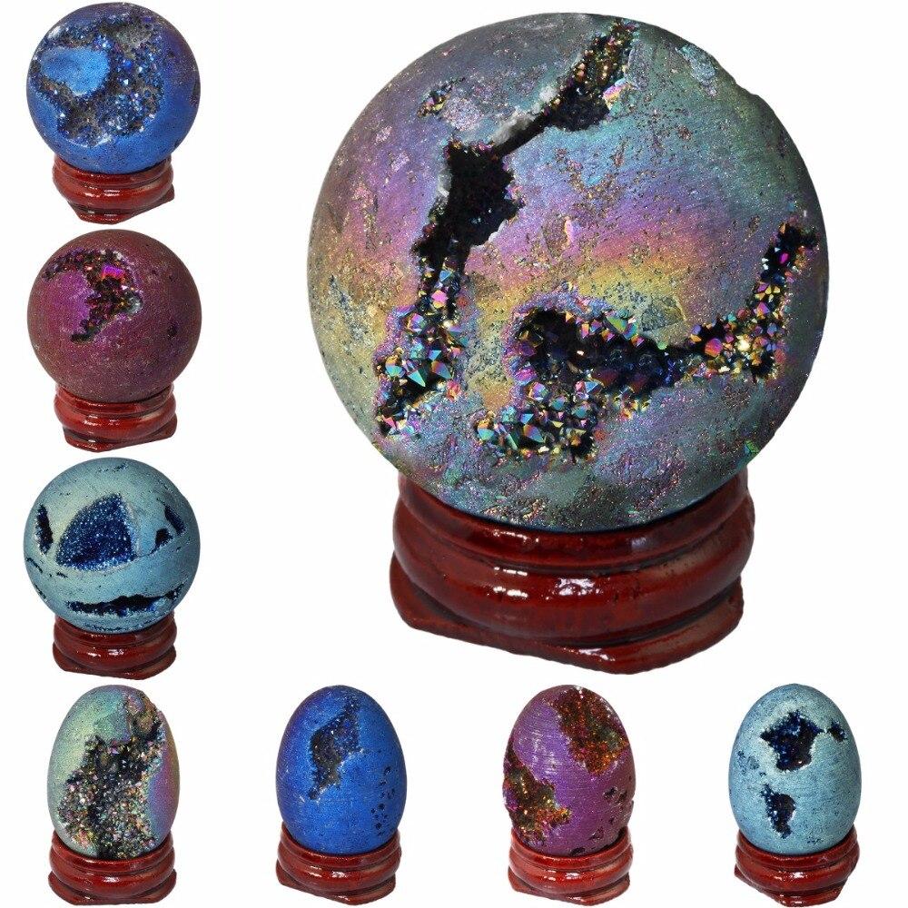 TUMBEELLUWA Titanium Coated Druzy Geode Sphere,Crystal Quartz Agate Gem Stone Egg/Ball,Sculpture Figurine Healing