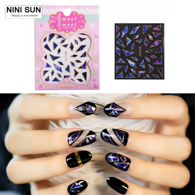 6pcs Set New Broken Gl Pieces Mirror Foil Tips Stencil Decal Nail Art Sticker Cute Tool