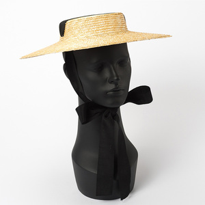 Image 4 - רחב ברים מגבעת כובע 10cm 15cm אפס מקום קש כובע שטוח נשים קיץ קנטאקי דרבי כובע לבן שחור סרט עניבת שמש כובע חוף כובע