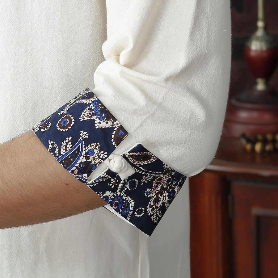 Mùa hè Mới Màu Be Người Đàn Ông của Cotton Linen Áo Sơ Mi tops Cổ Điển Trung Quốc Kung Fu Ngắn Tay Áo Áo Sơ Mi Tang Phù Hợp Với Kích Thước S M L XXL XXXL D11