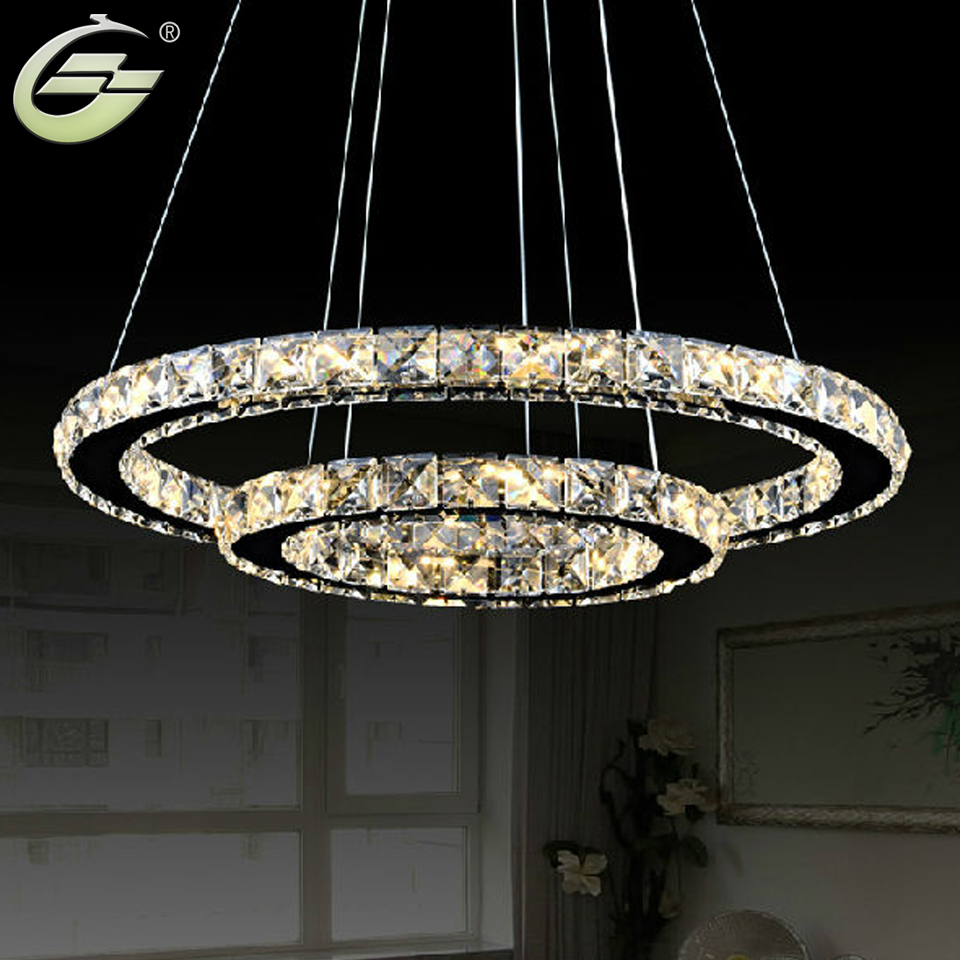 Hot sale modern two circles led crystal chandelier light pendant hot sale modern two circles led crystal chandelier light pendant with dia400200xh650mm position diamond ring free shipping in pendant lights from lights arubaitofo Images