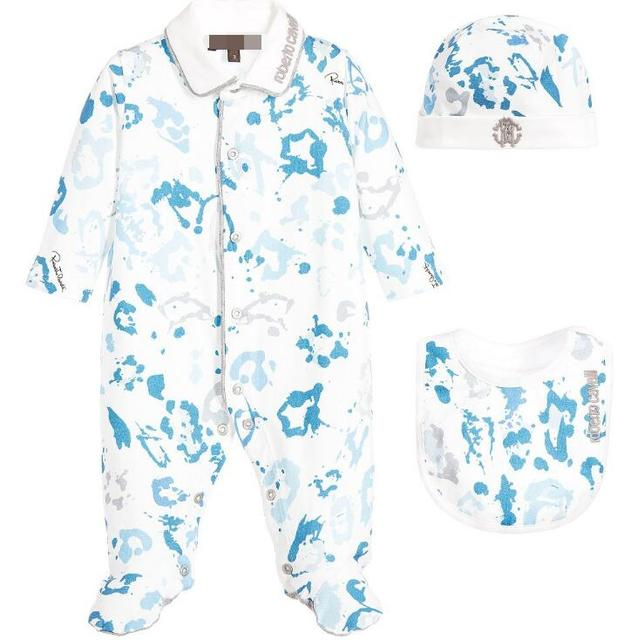 Novo Bebê de três-piece impressão romper Do Bebê terno infantis Marinha Pacote de impressão macacões pé + Hat set atacado