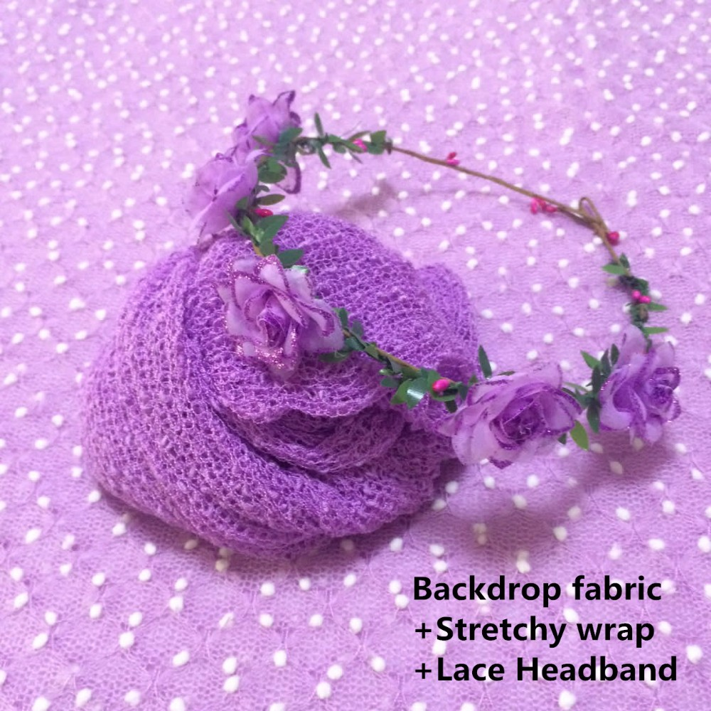Backdrop fabric+Stretchy wrap+Lace Headband