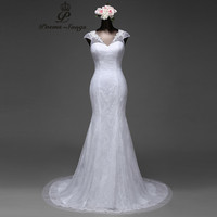 Poemssongs 2017 Sexy Lace Flowers Short Sleeves Mermaid Wedding Dress Satin Vestido De Noiva Ball Gown