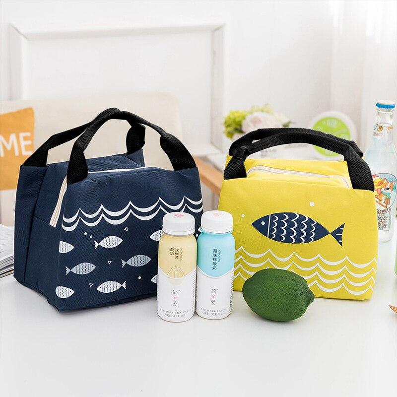 2Pieces Baby Food Insulation Bags Feeding Milk Bottles Warmer Fish Pattern Portable Waterproof Picnic Zipper Thermal Handbag