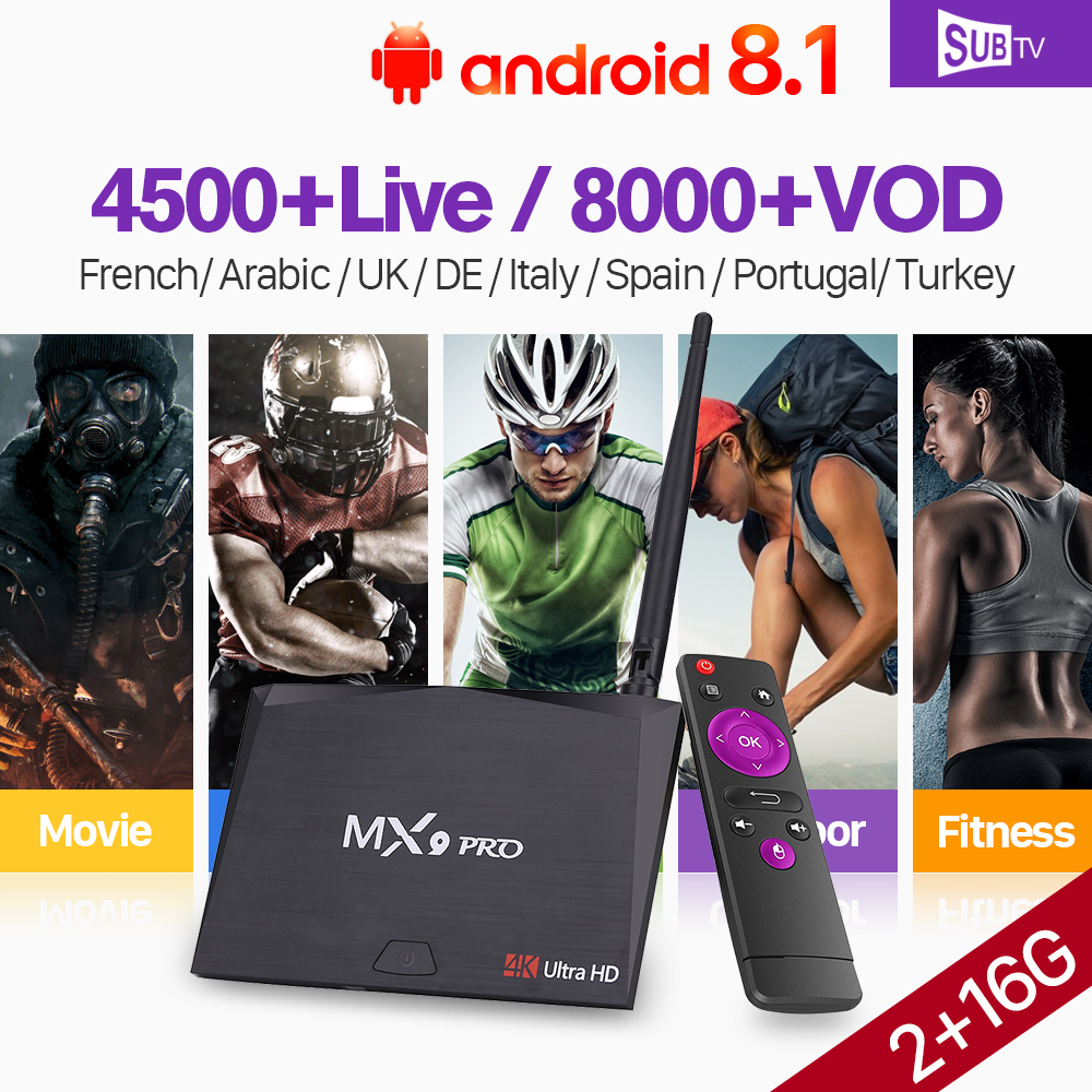 1 Year France IPTV Box Subscription IPTV Android 8.1 Box MX9 Pro Support BT Dual-Band WiFi 2G 16G SUBTV IP TV Code Italy Full HD цена и фото