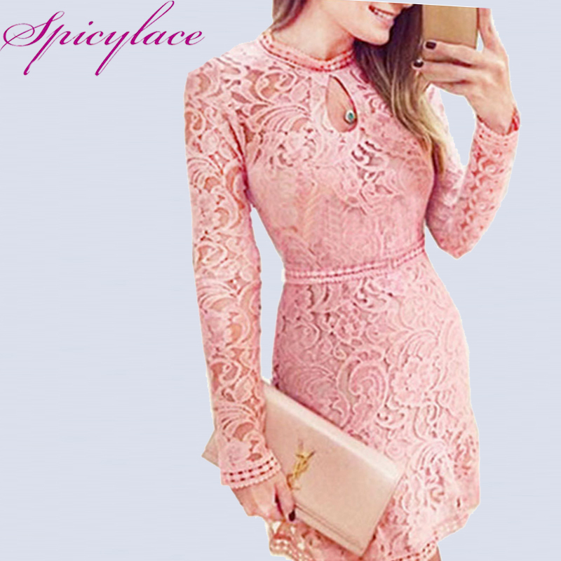 Spicylace New Sexy Women Autumn Lace Hollow Manga larga Vintage Dress Casual Vaina Hasta la rodilla Vestidos para Fiesta de Noche